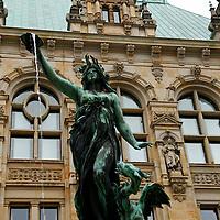Europe, Germany, Hamburg. Hygieia Fountain at Hamburg Rathaus.