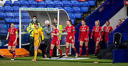 BIRKENHEAD, ENGLAND - Sunday, March 14, 2021: Liverpool's captain Niamh Fahey leads her side out before the FA Women's Championship game between Liverpool FC Women and Coventry United Ladies FC at Prenton Park. Liverpool won 5-0. (Pic by David Rawcliffe/Propaganda)