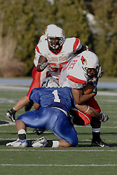 25 November 2006: Rafael Rice gets stopped by Tristan Burge.&#xD;The Redbirds romped the Panthers by a score of 24-13.&#xD;This game was a 1st round NCAA Division 1 Playoff held at O'Brien Stadium on the campus of Eastern Illinois University in Charleston Illinois.<br />