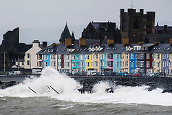 © Licensed to London News Pictures. <br /> 12/10/2018. Aberystwyth, UK. Storm Callum, the third named storm of the UK season, hits Aberystwyth on the west wales coast, with ferocious waves crashing into the seafront and promenade: Photo credit: Keith Morris/LNP