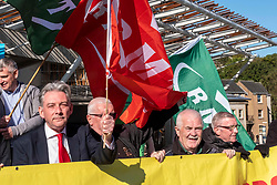 Pictured: Richard Leonard gets involved<br /><br />Richard Leonard, leader of Scottish labour, Patrick Harvie, co-leader of the Scotrtish Greens, joined other MSPs and memberes of the RMT union today to protest against Abellio contract. The rail union were demonstrating outside the Scottish Parliament in a call for the termination of privateer Abellio ScotRail's contract.<br /><br />Ger Harley | EEm 2 October 2019