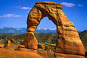 Delicate Arch is a 65-foot-tall (20 m) freestanding natural arch located in Arches National Park near Moab, Utah, USA. It is the most widely recognized landmark in Arches National Park and is depicted on Utah license plates and on a postage stamp commemorating Utah's centennial anniversary of admission to the Union in 1996. The Olympic torch relay for the 2002 Winter Olympics passed through the arch.