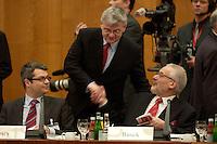 """09 JAN 2004, BERLIN/GERMANY:<br /> Joschka Fischer (M), B90/Gruene, Bundesaussenminister, begruesst Erhard Busek (R), Koordinator fuer den Stabilitaetspakt fuer Suedosteuropa, vor Beginn der Konferenz des Internationalen Bertelsmann-Forums """"Europa auf der Suche nach politischer Ordnung"""", Links: Hans Martin Bury, Staatsminister im Auswaertigen Amt, Auswaertiges Amt<br /> IMAGE: 20040109-02-010<br /> KEYWORDS: Bertelsmann Forum, Handshake"""