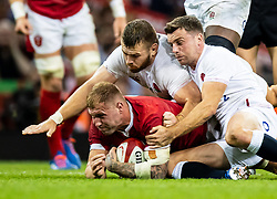 Ross Moriarty of Wales under pressure from George Ford of England<br /> <br /> Photographer Simon King/Replay Images<br /> <br /> Friendly - Wales v England - Saturday 17th August 2019 - Principality Stadium - Cardiff<br /> <br /> World Copyright © Replay Images . All rights reserved. info@replayimages.co.uk - http://replayimages.co.uk