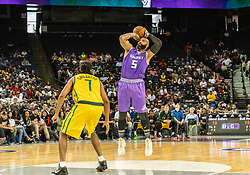 July 6, 2018 - Oakland, CA, U.S. - OAKLAND, CA - JULY 06: Carlos Boozer (5) co-captain of Ghost Ballers takes a jump shot at the foul line during game 2 in week three of the BIG3 3-on-3 basketball league on Friday, July 6, 2018 at the Oracle Arena in Oakland, CA (Photo by Douglas Stringer/Icon Sportswire) (Credit Image: © Douglas Stringer/Icon SMI via ZUMA Press)
