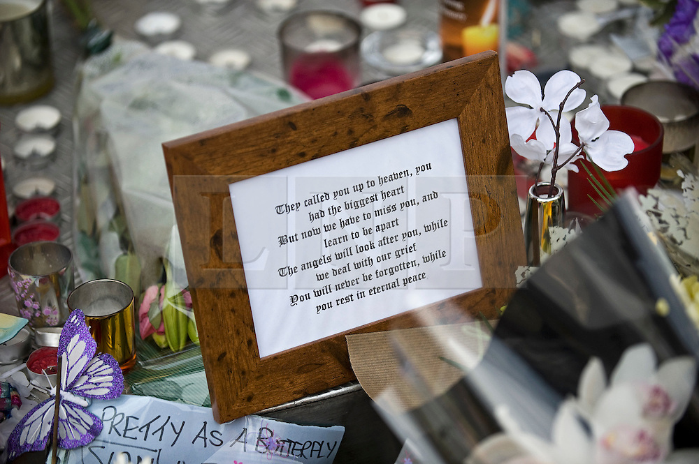 """© under license to London News Pictures.  28/03/2011. Flowers and candles outside SUJU nightclub in Swindon today (mon) on the day Christopher Halliwell appeared at Swindon magistrates court charged with the murder of 22 year-old Sian O""""Callaghan. Photo credit should read: LNP.."""