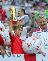 MOSCOW, July 11, 2018  Fans of England cheer prior to the 2018 FIFA World Cup semi-final match between England and Croatia in Moscow, Russia, July 11, 2018. (Credit Image: © Yang Lei/Xinhua via ZUMA Wire)