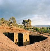 The sunken rock church of St George (Bet Glyorgis) Lalibela, Ethiopia.