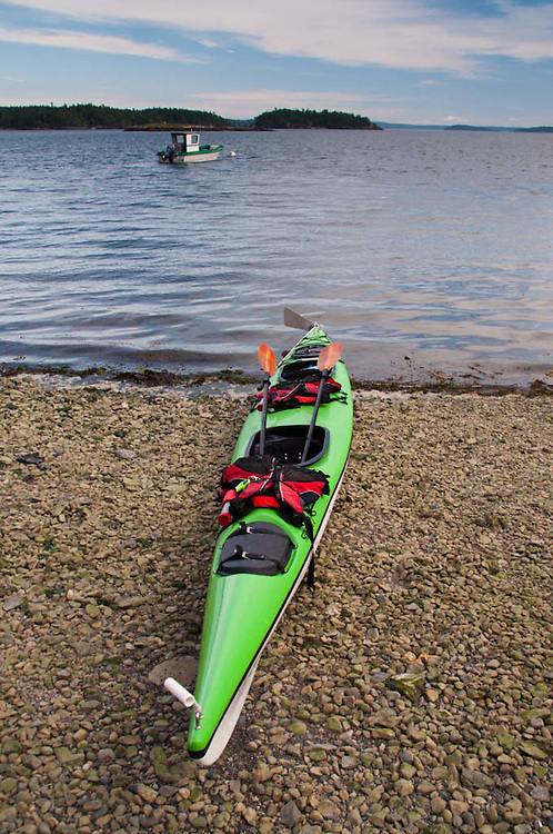 Green Kayak and Caretaker Boat, Yellow Island, San Juan Islands, Washington, US