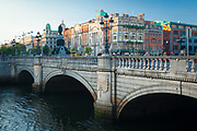 O'Connell Bridge (Irish: Droichead Uí Chonaill) is a road bridge spanning the River Liffey in Dublin, and joining O'Connell Street to D'Olier Street, Westmoreland Street and the south quays.