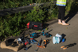 Tools brought by Insulate Britain climate activists who blocked the clockwise and anticlockwise carriageways of the M25 between Junctions 9 and 10 as part of a campaign intended to push the UK government to make significant legislative change to start lowering emissions are pictured on 21st September 2021 in Ockham, United Kingdom. The activists are demanding that the government immediately promises both to fully fund and ensure the insulation of all social housing in Britain by 2025 and to produce within four months a legally binding national plan to fully fund and ensure the full low-energy and low-carbon whole-house retrofit, with no externalised costs, of all homes in Britain by 2030.