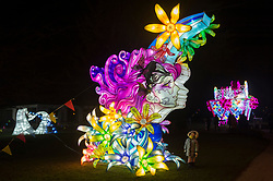 © Licensed to London News Pictures. 21/01/2020. London, UK. Three year old Lily Ruva Tang views a light installation showing as part of the Lightopia Festival in Chiswick House Gardens. Photo credit: Ray Tang/LNP