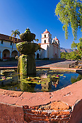Spanish fountain at the Santa Barbara Mission (Queen of the missions), Santa Barbara, California USA