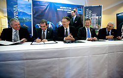 Iztok Rems, general secretary of KZS, Roman Volcic, president of KZS, Dr. Igor Luksic, Slovenia's Minister of Education and Sport, Olafur Rafnsson, president of FIBA Europe and Nar Zanolin, secretary general of FIBA Europe signing a contract at Eurobasket 2013 Candidate presentation of Slovenia at FIBA EUROPE Board on December 05, 2010 in Munich, Germany. The Board decided that Eurobasket 2013 will be in Slovenia. (Photo By Vid Ponikvar / Sportida.com)