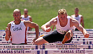 Germany's Arthur Abele leads Joe Cebulski of the United States as he wins the 110-meter hurdles and finished first in overall points in the decathlon, at the Nike Combined Events Challenge at the R.V. Christian Track Complex on the campus of Kansas State University in Manhattan, Kansas, August 6, 2006.