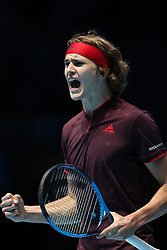 Alexander Zverev reacts during his singles match against Marin Cilic during day one of the NITTO ATP World Tour Finals at the O2 Arena, London.