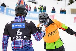 Andrey Sobolev (RUS) and  Radoslav Yankov (BUL) during Final Run of Men's Parallel Giant Slalom at FIS Snowboard World Cup Rogla 2016, on January 23, 2016 in Course Jasa, Rogla, Slovenia. Photo by Ziga Zupan / Sportida