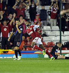 Bristol City's Jay Emmanuel-Thomas celebrates  - Photo mandatory by-line: Joe Meredith/JMP - Tel: Mobile: 07966 386802 27/08/2013 - SPORT - FOOTBALL - Ashton Gate - Bristol - Bristol City V Crystal Palace -  Capital One Cup - Round 2