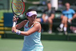 March 7, 2019 - Indian Wells, CA, U.S. - INDIAN WELLS, CA - MARCH 07: Misaki Doi (JPN) hits a backhand during the BNP Paribas Open on March 7, 2019 at Indian Wells Tennis Garden in Indian Wells, CA. (Photo by George Walker/Icon Sportswire) (Credit Image: © George Walker/Icon SMI via ZUMA Press)