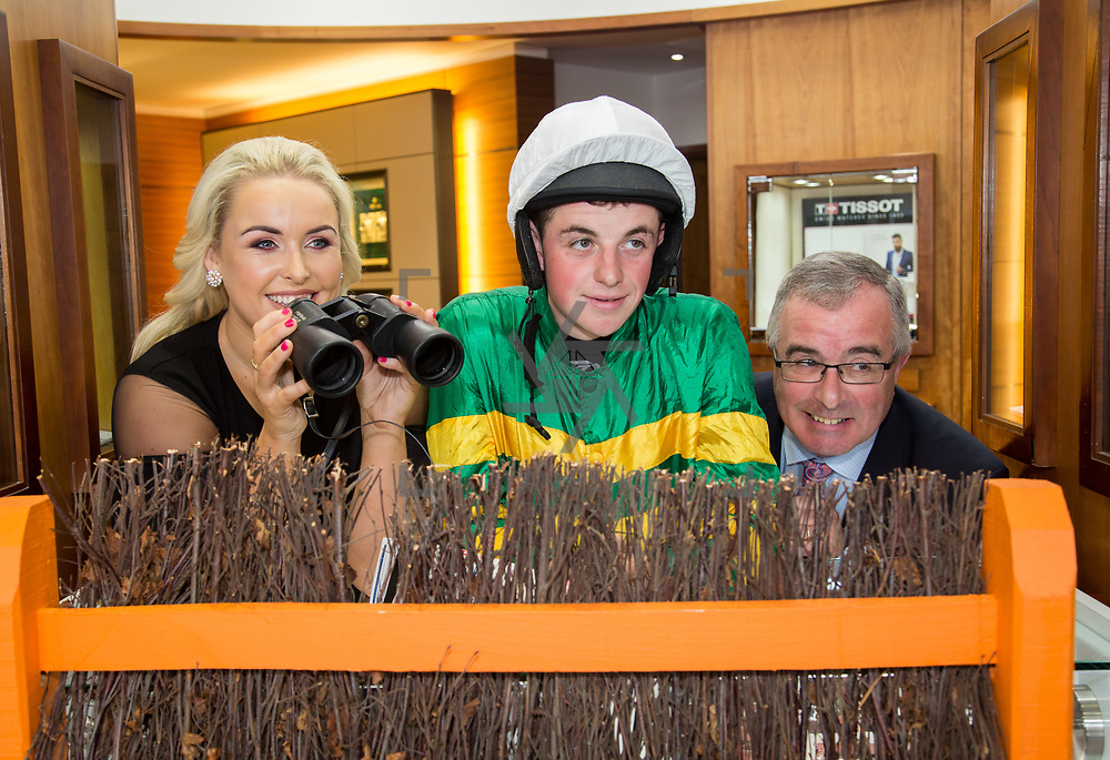 08.09. 2017.                             <br /> Launching Limerick Racecourse and Keanes Most Stylish Lady at Limerick Racecourse and Keanes Most Stylish Lady were, Aidan Liddy, Keanes Jewellers, Sinead O'Brien, Sineads Curvy Style and Jockey, Donal McInerney. Picture: Alan Place