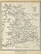 Britannia Antiqua Ancient, Historical map of Britain Copperplate engraving From the Encyclopaedia Londinensis or, Universal dictionary of arts, sciences, and literature; Volume VIII;  Edited by Wilkes, John. Published in London in 1810.