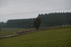 The peloton roll through the wind and rain at the 2020 Liège Bastogne Liège, a 135 km road race from Bastogne to Liège, Belgium on October 4, 2020. Photo by Sean Robinson/velofocus.com
