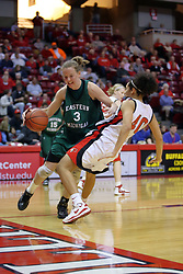 06 December 2008: Amber Land commits a foul against Ashleen Bracey while driving to the basket during a game between the Eastern Michigan Eagles and the Illinois State Redbirds on Doug Collins Court inside Redbird Arena on the campus of Illinois State University, Normal Il.