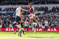 Football - 2021 / 2022 Premier League - Tottenham Hotspur vs Aston Villa - Tottenham Hotspur Stadium - Sunday 3rd October 2021<br /> <br /> Harry Kane (Tottenham Hotspur) risea to head the ball back across the goal <br /> <br /> COLORSPORT/DANIEL BEARHAM