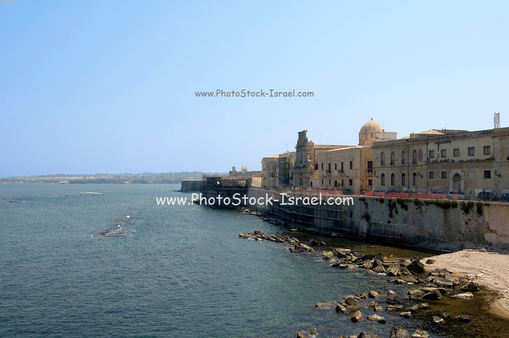 Porto Grande, Siracusa, Syracuse, Sicily, Italy, July 2006. A view over the bay with the Church of the Holy Spirit in the background