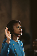 Anita Hill takes the oath at the Clarence Thomas  confirmation hearings to be a justice on the Supreme Court in September 1991..Photograph by Dennis Brack bb24