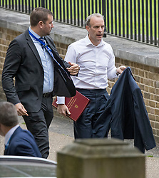 © Licensed to London News Pictures. 01/09/2021. London, UK. Foreign Secretary DOMINIC RAAB is seen arriving at Downing Street in Westminster. Later today a panel of MPs on the Foreign Affairs Committee with question Raab on his handling of the withdrawal of troops and UK nationals from Afghanistan. Photo credit: Ben Cawthra/LNP