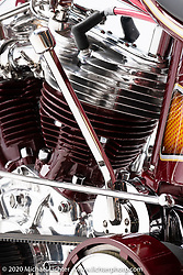 Josh Soto's Nostalgia, a 1950 Harley-Davidson Panhead, built in 2020,. Photographed by Michael Lichter in Sturgis, SD. August 5, 2020. ©2020 Michael Lichter