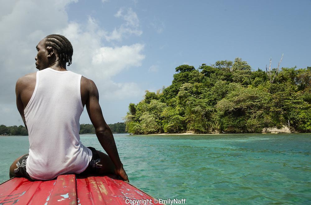 Roy guides us to Monkey Island.  Monkey island is off the Eastern coast of Jamaica, near Port Antonio.