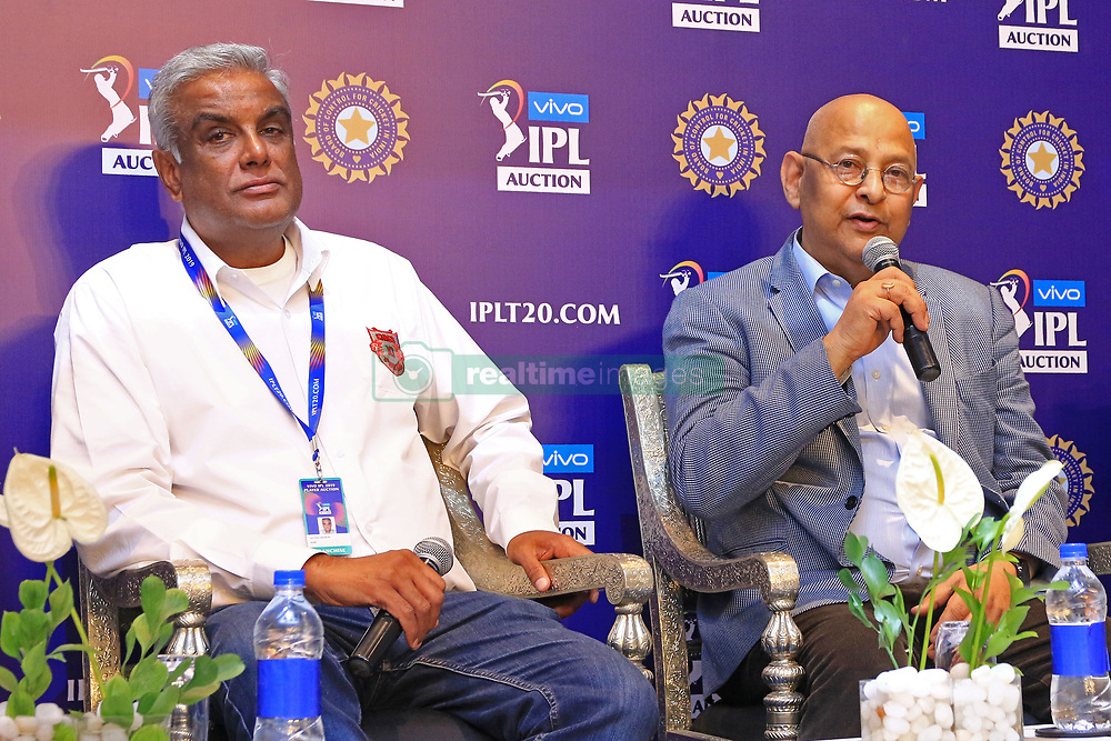 December 18, 2018 - Jaipur, Rajasthan, India - Kings XI Punjab CEO Satish Menon (L) and Board Of Control For Cricket In India (BCCI) secretary Amitabh Choudhary (R) speaks at a press conference for the Indian Premier League 2019 auction in Jaipur on December 18, 2018, as teams prepare their player rosters ahead of the upcoming Twenty20 cricket tournament next year. The 2019 edition of the IPL -- one of the world's most-watched sporting events attracting the world's top stars -- is set to take place in April and May next year.(Photo By Vishal Bhatnagar/NurPhoto) (Credit Image: © Vishal Bhatnagar/NurPhoto via ZUMA Press)