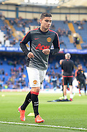 Andreas Pereira of Manchester United during pre match warm up. Barclays Premier league match, Chelsea v Manchester Utd at Stamford Bridge Stadium in London on Saturday 18th April 2015.<br /> pic by John Patrick Fletcher, Andrew Orchard sports photography.