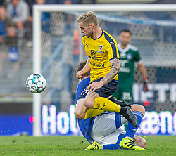 Mathias Haarup (Hobro IK) under kampen i 3F Superligaen mellem Lyngby Boldklub og Hobro IK den 20. juli 2020 på Lyngby Stadion (Foto: Claus Birch).