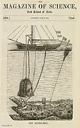 'Payerne's diving bell: Iron shell with glass windows in top. Fresh air supplied by an air ump on mothership through tubes to men working below. Woodcut, 1842.'
