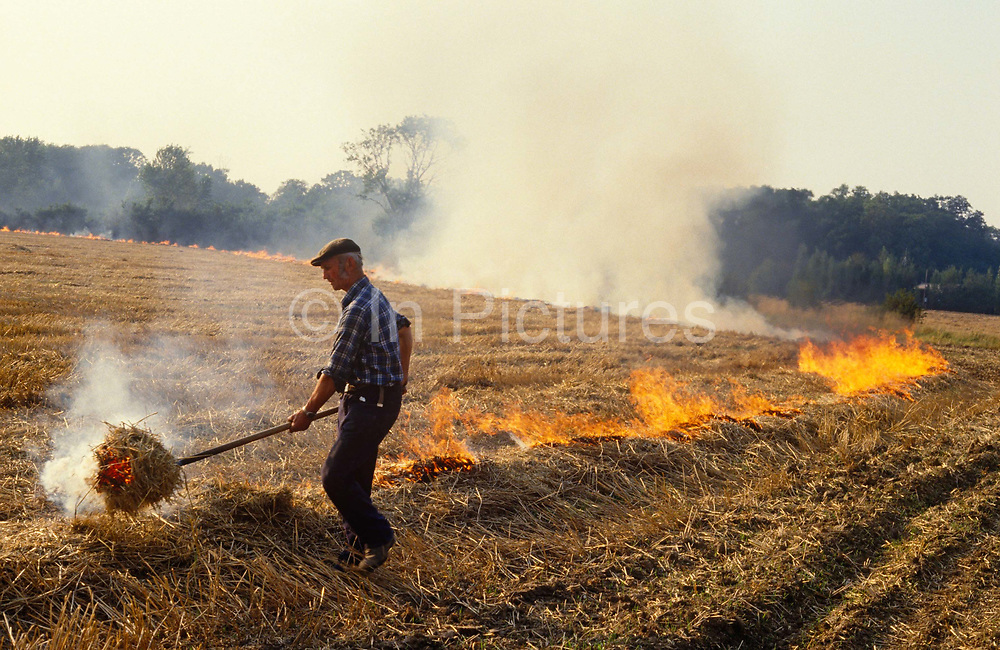 It is 1985 and a farmer walks along a line of long, combustible straw and with a pitchfork and smouldering straw, sets fire to the organic material in an Essex field, southern England. It is late summer and the harvested corn has left behind short stubble which the farmer sets ablaze. This now restricted practice of destroying cereal straw and stubble by flame was stopped by the introduction of The Crop Residues (Burning) Regulations of 1993 which now restricts farmers on burning crop materials, including residues of oilseed rape, field beans and peas, except in very limited circumstances, e.g. for disease control where a plant health order has been served. The burning of straw and stubble also deprives the soil of valuable organic material and releases greenhouse gases to the atmosphere.