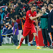 Turkey's Burak Yilmaz celebrate his goal during their UEFA Euro 2016 qualification Group A soccer match Turkey betwen Kazakhstan at AliSamiYen Arena in Istanbul November 16, 2014. Photo by Kurtulus YILMAZ/TURKPIX