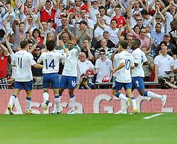 04.06.2011, Wembley Stadium, London, ENG, UEFA EURO 2012, Qualifikation, England vs Switzerland, im Bild Ashley Young (C) of England celebrates his equaliser..England v Switzerland.Euro 2012 qualifying.Wembley Stadium. London. UK. 4/6/11. EXPA Pictures © 2011, PhotoCredit: EXPA/ IPS/ Sean Ryan +++++ ATTENTION - OUT OF ENGLAND/UK and FRANCE/FR +++++