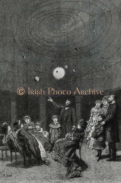 Demonstration of  Pernini's planetarium in London, 1880.