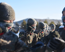 January 29, 2018 - Tahe, Tahe, China - Tahe,CHINA-29th January 2018: Soldiers receive training in freezing weather of minus 34 degree Celsius in Tahe, northeast China's Heilongjiang Province. (Credit Image: © SIPA Asia via ZUMA Wire)
