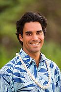 Kainoa Horcajo, the Hawaiian Cultural Director for the Andaz hotel in Wailea, Maui, Hawaii
