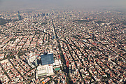 Aerial view of urban sprawl and smog in Mexico City, Mexico
