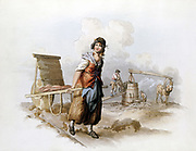 Brickfield: Horse-powered pug mill grinding clay. Woman with hack barrow for transporting green bricks to clamps to dry out before firing.  From William Henry Pyne 'Costume of Great Britain' London 1808. Aquatint