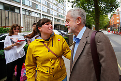 © Licensed to London News Pictures. 27/08/2015. London, UK. Labour Party leader candidate Jeremy Corbyn meeting to his supporters before attending a husting hosted by Daily Mirror at DoubleTree Hilton Hotel in London on Thursday, August 27, 2015. Photo credit: Tolga Akmen/LNP