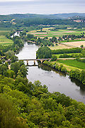The River Dordogne viewed from on high at Domme, Dordogne, France