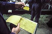 Nederland, Wansum, 15-11-1991Invoereing oormerken van koeien en kalveren, I en R.Oormerken van koeien en kalveren wordt ingevoerd. I en R, identificatie en registratie. Het vervangt ook de traditionele tekening die van elk kalf gemaakt werd.. Foto: Flip Franssen/Hollandse Hoogte