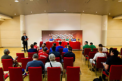 Jean-Claude Giuntini, head coach of France U-17 National team, Vasil Maisuradze, head coach of Georgia U-17 National team, Stefan Boeger, head coach of Germany U-17 National team and Gunnar Gudmundsson, head coach of Iceland U-17 National team during press conference of Group A of UEFA European Under-17 Championship Slovenia 2012, on May 3, 2012 in Austria Trend Hotel, Ljubljana, Slovenia. (Photo by Vid Ponikvar / Sportida.com)