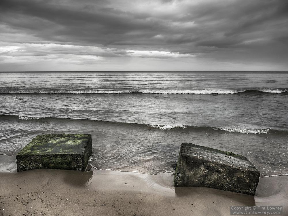 WW2 Concrete Anti Tank Defenses On Warkworth Beach, Northumberland